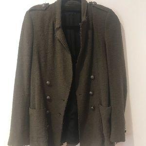 Zara Army Green Tweed distressed Blazer